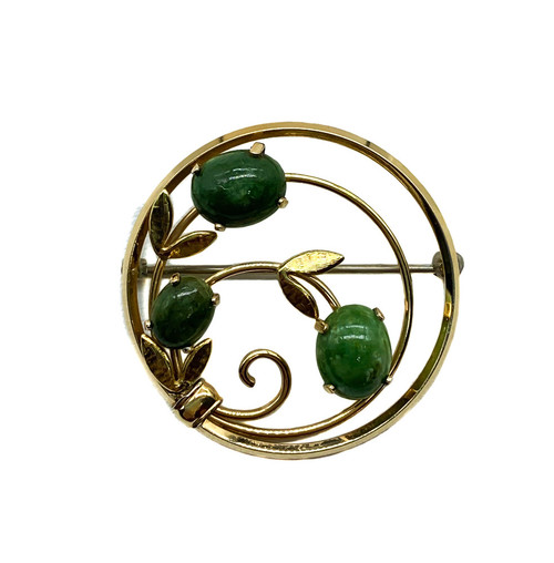 Vintage Mid Century Krementz Gold Filled Jade Cabochon Leaf Circle Pin Brooch