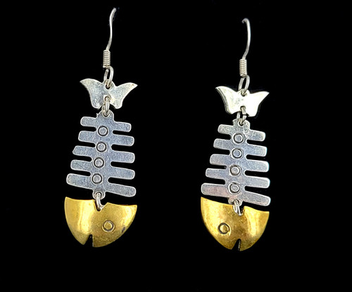 Vintage Mid Century Sterling Taxco Mexico Mixed metals Fish Bone Dangle Earrings