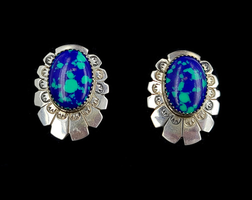 Vintage Sterling Lo Lawrence Azurite and Malachite Zuni Floral Flower Post Earrings