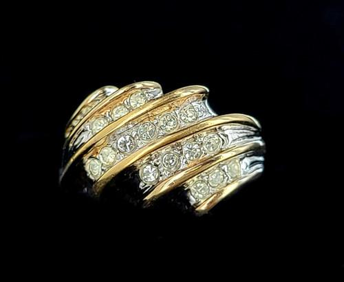 Vintage 18k Gold Electroplate Rock Quartz Mid Century Wave Design Ring sz 8