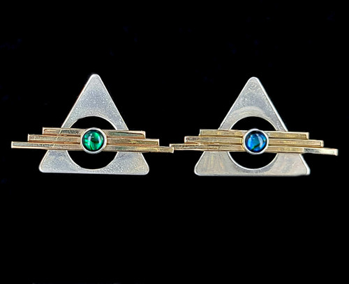 Vintage Sterling Gold Filled GF Abalone Shell Geometric triangle Post Earrings