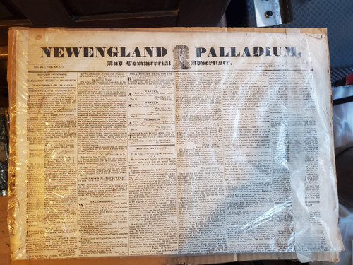 Antique New England Palladium Commercial Advertiser Newspaper Boston May 14 1830