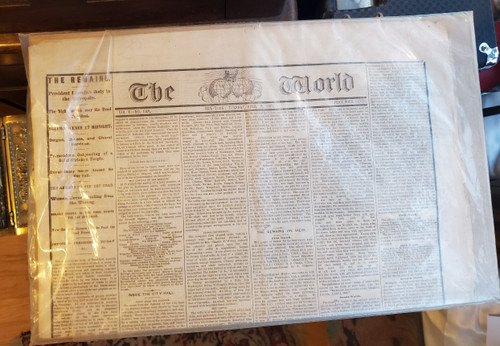 Antique The World New York Newspaper April 25 1865  Lincoln's Funeral Procession