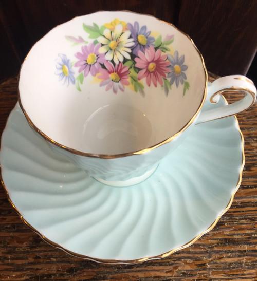 Vintage RARE Aynsley Pale Aqua Blue Swirl- Daisy -Tea Cup & Saucer Set 1960s