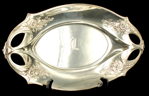 "Antique Nouveau Secessionist WMF Silverplate Tray Flowers Relief 15.5"" Germany"