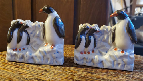 Vintage Deco Penguins HP Match Holders Trinket Cigarette Toothpicks Japan Pair