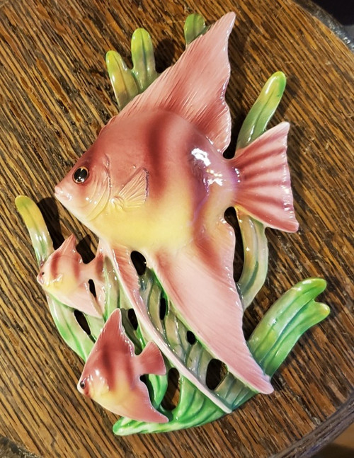 Vintage Lefton Fish Swimming Pink Yellow Green Wall Hanging Plaque Aquatic Japan