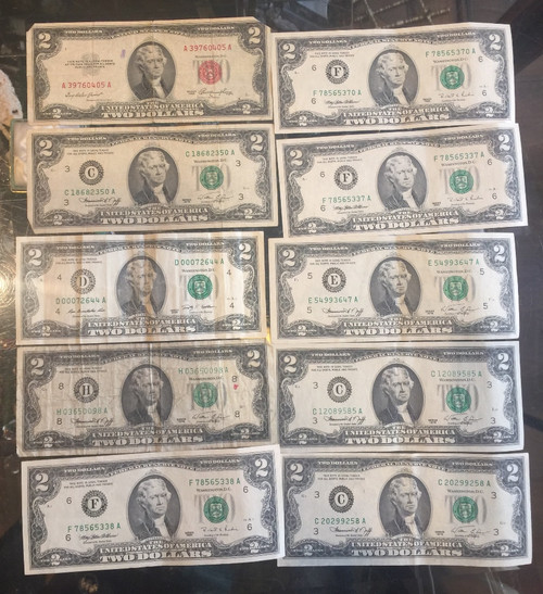 10 Series 1953, 1976, 2009 $2 US Dollar UnCirculated & Circulated Bills Currency