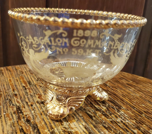 Vintage MASONIC Glass Bowl Engraved 1898 Ascalon Commandery No. 59 Pittsburgh KT