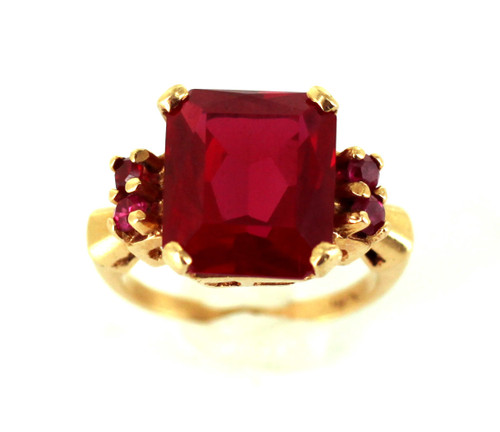 Vintage 14k Yellow Gold Large 6.3cttw Pink Red Synthetic Ruby Ring sz 5