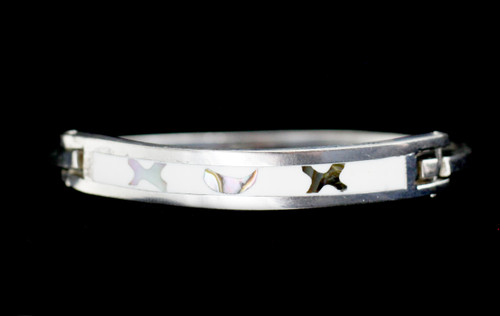 Vintage Mexico Sterling Silver Enamel Inlay Abalone Shell Bangle Bracelet