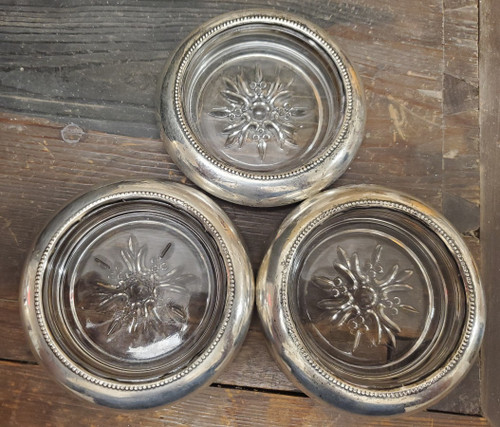 Vintage Empire Sterling Silver No 4 Sunburst Glass Coasters Mid Century Barware