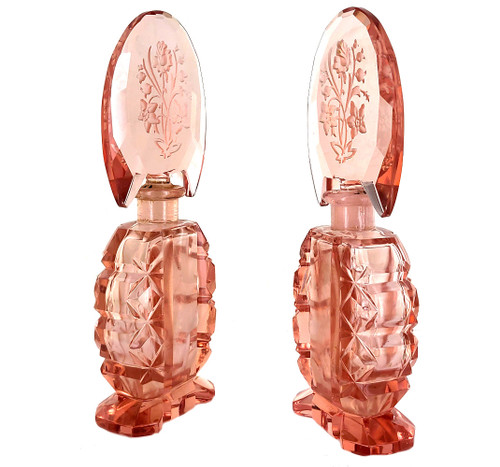 Vintage Hoffman Czech Pink Crystal Floral Engraved Art Deco Perfume Bottle Pair