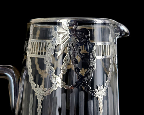 Antique Edwardian Tall Sterling Silver Ovaerlay Engraved Frosted Crystal Pitcher