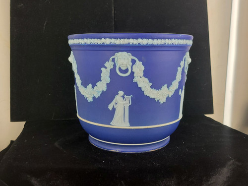 Antique Victorian Wedgewood Blue White Jasperware Jardiniere Planter 6.5""