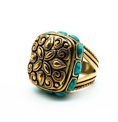 Vintage Barse Big Bronze Turquoise Bali Boho Style Statement Ring Size 6.5