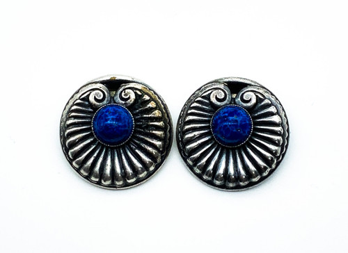 Antique Art Nouveau Sterling Silver Blue Mottle Art Glass Lily Pad Clip Earrings