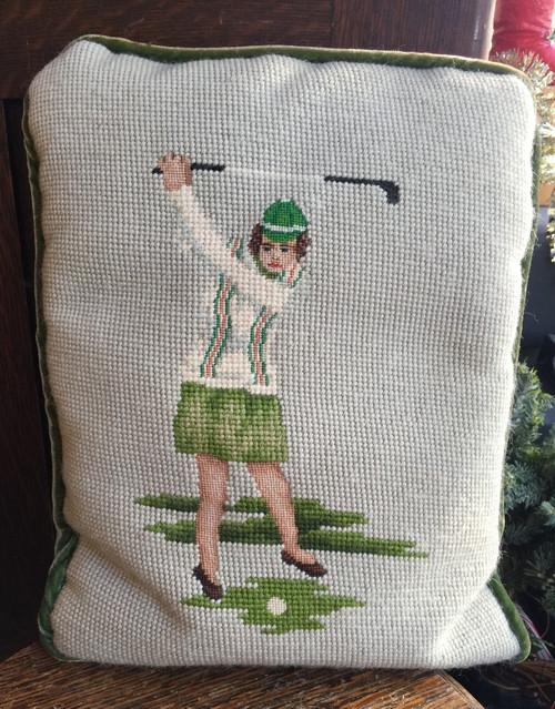 Antique Golf Needlepoint Wool Green Velvet Couch Throw Lady Golfer Pillow 12x10