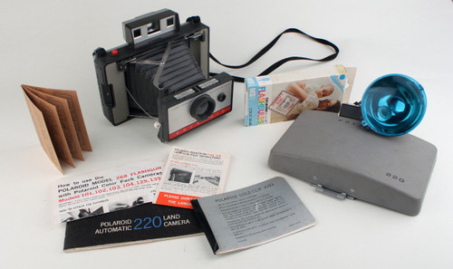 VIntage Polaroid Instant 220 Cameras and Accessories in black Carrying Case