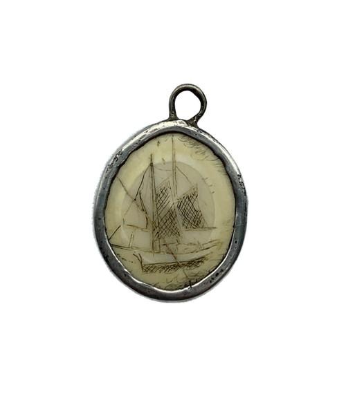 Antique Sterling Silver Scrimshaw Etched Schooner Boat Nautical Pendant