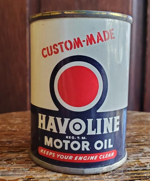 "Vintage Texaco HAVOLINE Motor Oil 3"" 4 oz Tin Can Savings Bank Promo 1950s CLEAN"