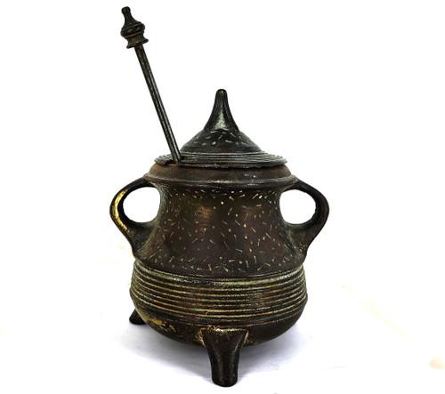 Antique Cast Iron Honey Pot & Dipper United MFO Primitive Honey Pot Heavy Duty