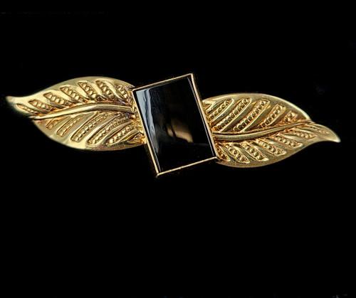 """Antique 12k Gold Filled GF Black Onyx Leaf Design Bar Brooch Pin 2"""""""
