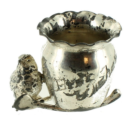 Antique Figural Best Wishes Chick Wishbone Toothpick Holder Derby Silver Plate