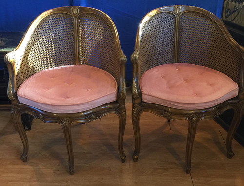 Vintage French Louis XVth Style Walnut Finish Pr Pink Cane Back Arm Chairs 1960s