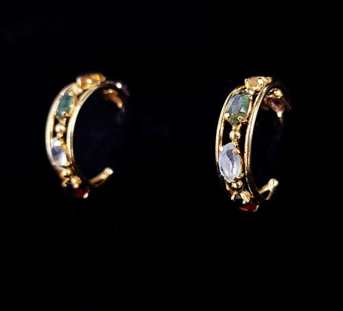 """Vintage Monet Gold Over Silver Multi Gemstone Huggie Hoop Earrings 1"""""""