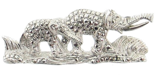 "Antique Deco Elephant Mama & Baby 800 Silver Marcasite Rhodium Plated Figural Pin 1.6"" Germany"