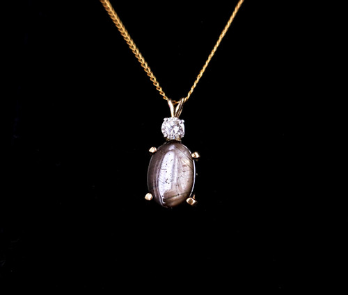 Vintage 14k Gold Natural Grey Star Sapphire VS G Color Diamond Pendant Necklace