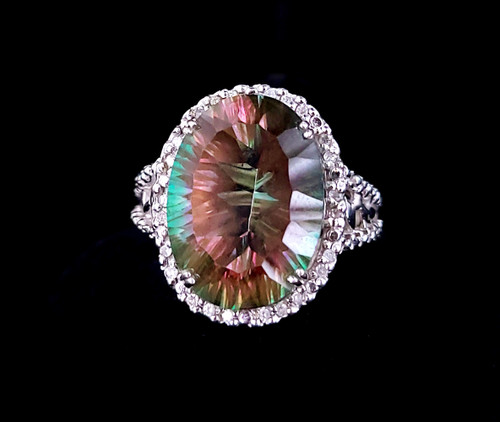 Vintage 10k White Gold 14ct  Mystic Topaz Pave Diamonds Floral Stunning Ring 8