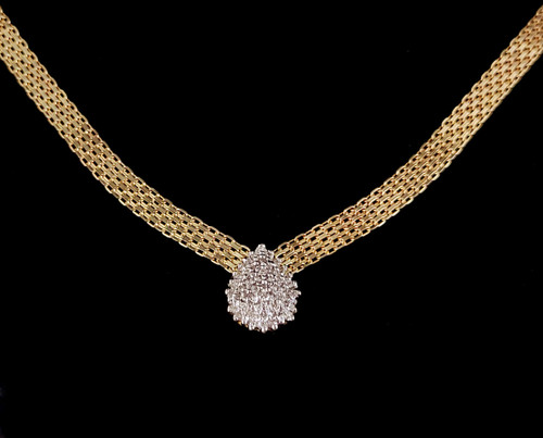 Vintage 10k Gold .40 cttw GHI VS2 Pave Diamond Woven MeshThick Chain Necklace 17""
