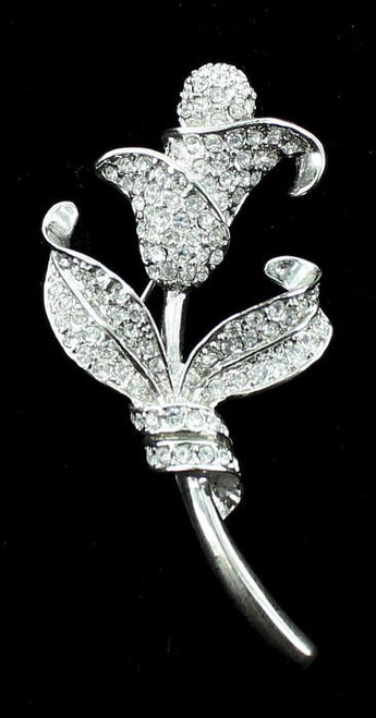 Antique Deco Pave Paste Rhinestones Stylized Flower Rhodium Plated Pin Brooch