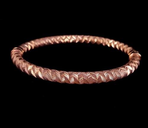 """Vintage Rose Gold over Sterling Diamond Metal Design Clamper Bangle Bracelet 7"""""""