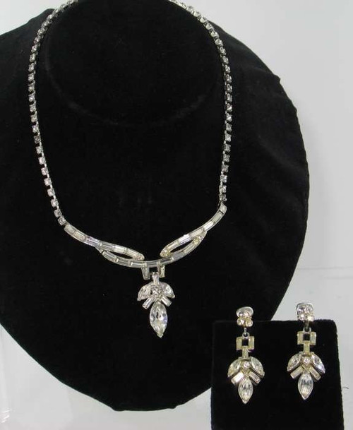 Vintage Coro Galaxy Nights Rhinestones Baguettes Necklace and Earring Set