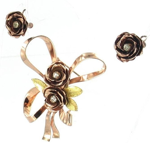 Vintage Coro Rose Gold Over Sterling Silver Floral Roses Ribbon Pin & Earrings