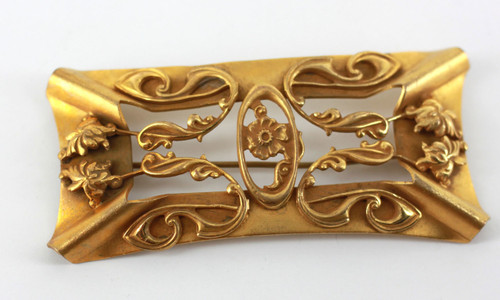 Antique 1800's Art Nouveau Gold Leaf Over Brass Buckle Style Large Brooch/Pin