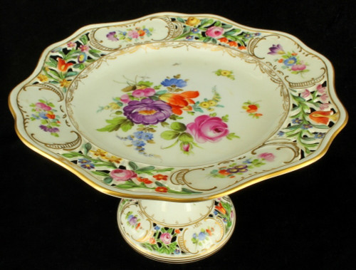 Antique Dresden Carl Thieme Reticulated Footed Compote Comport Cake Plate Floral