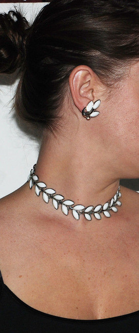 """Vintage Crown Trifari White Poured Glass Leaf Necklace and Earrings Set 16"""""""