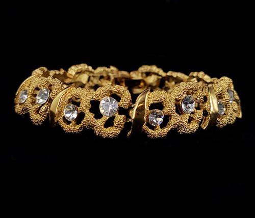 "Vintage Crown Trifari Mid Century Rhinestone Organic Floral Bracelet 7"""