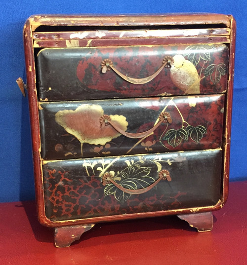 Antique Japanese Lacquer Small Chest of drawers Tansu Style Jewelry Box 1800's