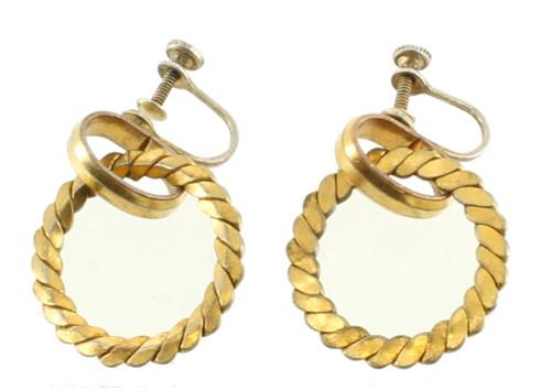 "Antique Art Deco Sterling Gold  Dangle Circle Hoop Screw Back Earrings 1"""