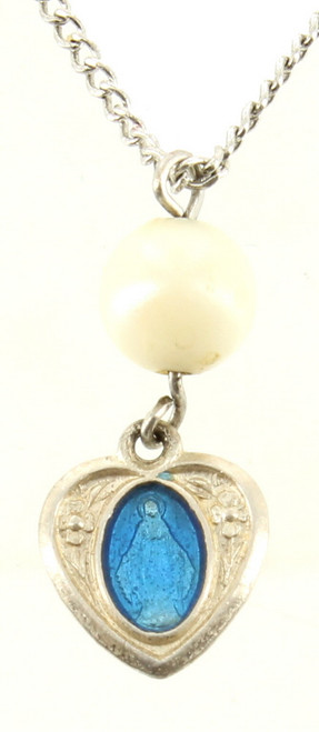 Vintage Deco Sterling Enamel Immaculate Conception Tiny Heart Medal Pearl Necklace