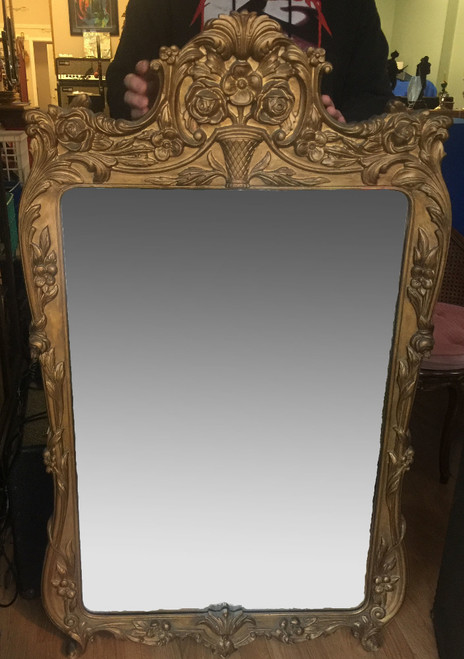 """Antique Louis XIV French Style Gilt Gold 1915 Ornate Large Heavy Mirror 53.5"""" H"""