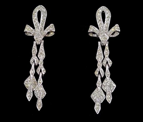 Antique Art Deco Silver Plated Clear Paste Rhinestone Chandelier Earrings