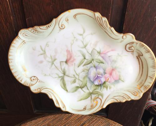 Antique Limoges France Sweet Peas HP Porcelain Dresser Vanity Perfume Tray 1880s