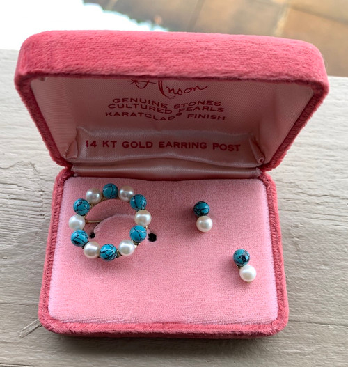 Vintage Anson 14k Gold Plated Cultured Pearl Turquoise Brooch Earring Set