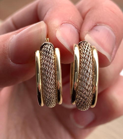 Vintage 14k Yellow Gold & Sterling Silver Mesh Hoop Earrings